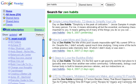 Google Reader - Search